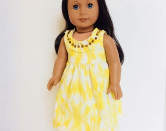 Yellow Hawaiian Dress, AG Doll Clothing, 18 Inch Doll Clothing, Made To Fit American Girl Doll