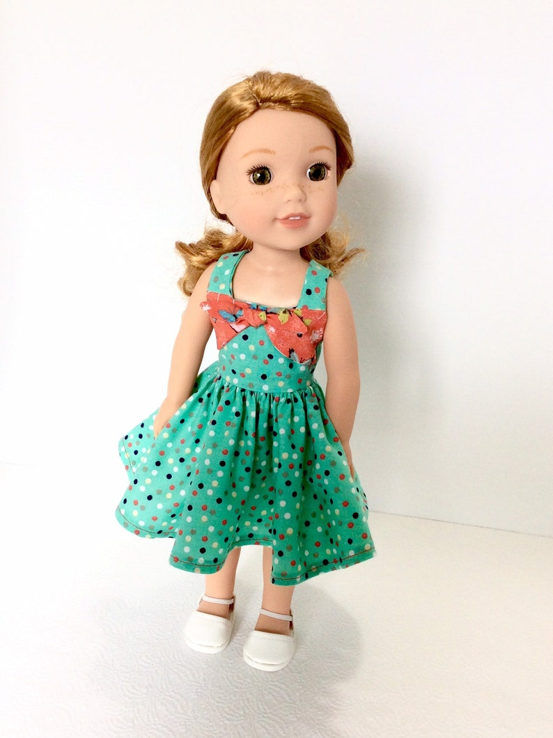"14.5/"" Doll Clothes-fit American Girl-Wellie Wishers-Party Dress-Blue Butterfly"