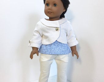 White Linen Jacket, Peplum Top and Denim Jeans, AG Doll Clothing, 18 Inch Doll Clothing, Made To Fit American Girl Doll