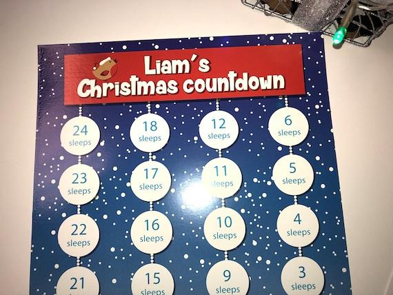 24 x /'Sleeps till Christmas/' stickers advent calendar alternative 30mm round