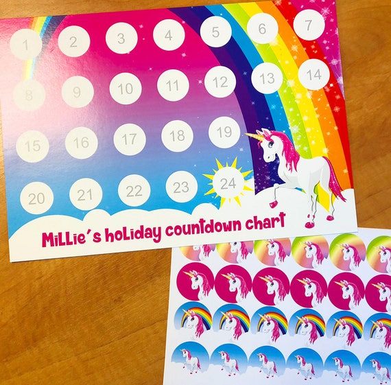 Personalised countdown to Christmas chart /& 24 sleeps till Christmas stickers