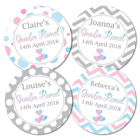 GENDER REVEAL Personalised 60mm Round Glossy Stickers Party Circle Badges