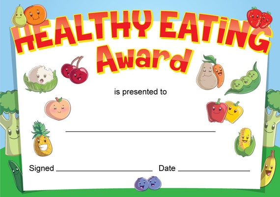 Healthy Eating Award Certificates 16 X A6 Cards Great For