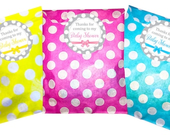 Baby Shower Stickers & Polka Dot Bags, pack of 24 - pink, blue or yellow 60 mm, grey and white polka dot design stickers