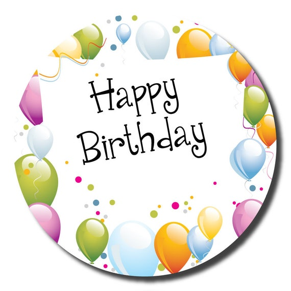 Happy Birthday Stickers 60mm Space To Write Name