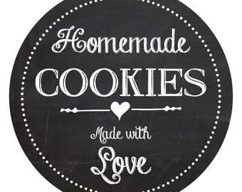Homemade with love, cookie labels, 60mm, gift idea, brilliant finishing touch for your home baked treats