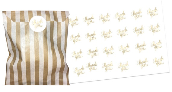 Black /& gold thank you stickers 2 sizes x 24 WITH black striped paper bags