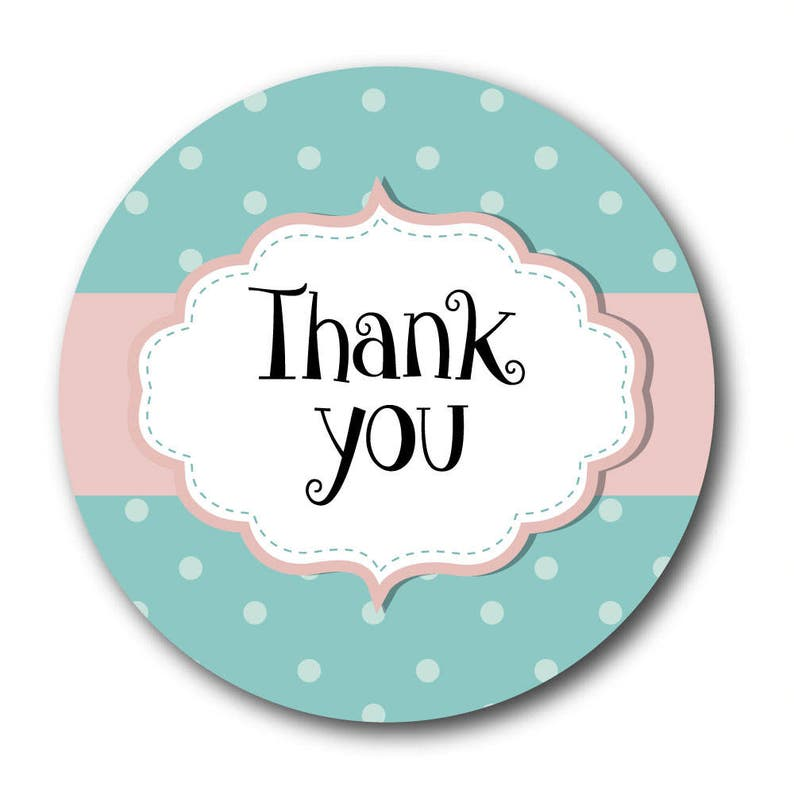 Tecniche Di Shabby Chic.Thank You Stickers Shabby Chic Style Green And Pink Polka Dots 60mm In Diameter