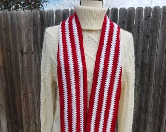 Red/White Crochet Scarf