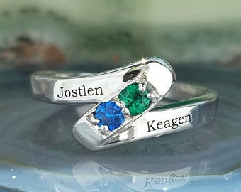 Mothers ring. Birthstone ring. Family jewelry. Engraved ring. Ring with childrens names. Personalized mothers ring. Mothers day gift