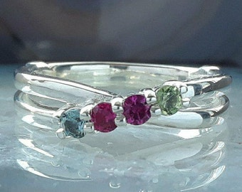Mothers 4 Stone Ring Etsy