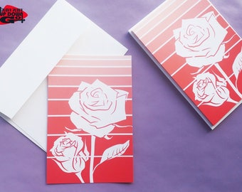 Valentines Day Red Rose Cards (set of 6), Red Rose Flower Art Note Cards & Stationery Set, Rose Flower Greeting Cards