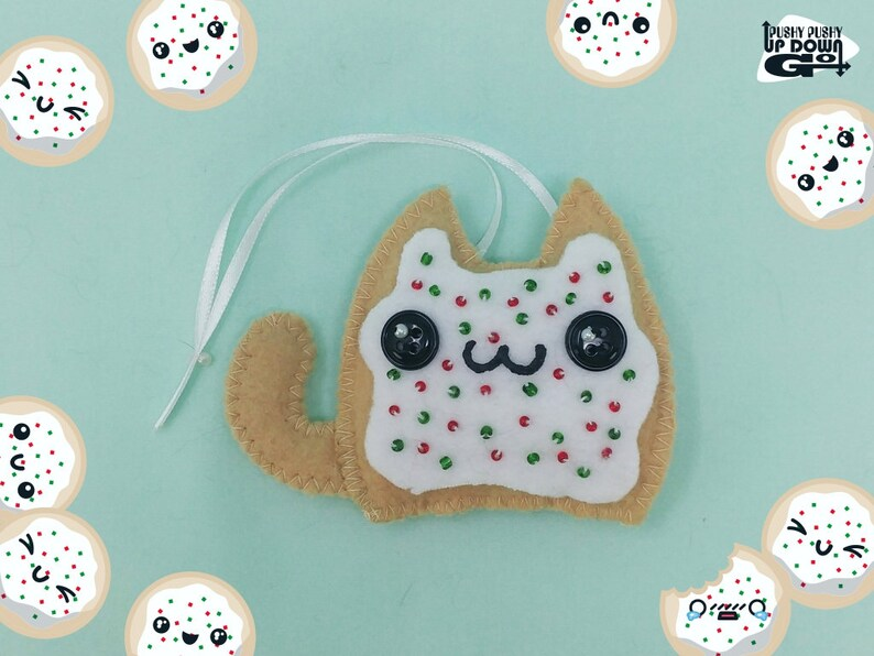 Kawaii Christmas Sugar Cookie Cat Stuffed Ornament Kawaii Christmas Tree Decoration Kawaii Food Christmas Ornament