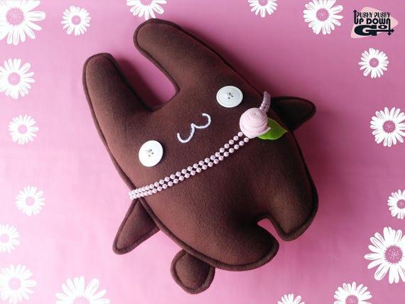 Cute Kawaii chocolat marron Pâques lapin lapin doudou avec perles, Kawaii mignon lapin en peluche poupée lapin, lapin Kawaii lapin coussin