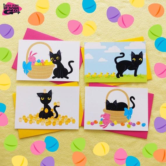 Lustige Schwarze Katze Osterkarten Satz Von 4 Lustige Etsy