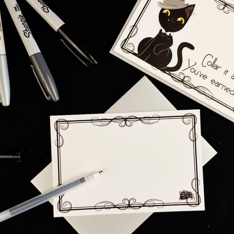 set of 4 cards + envelopes Dapper Black Cat Plummy Congratulations Postcards style D