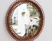 Mid-Century Italian Rattan Round Wall Mirror (circa 1960s)