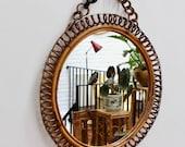 Mid-Century Italian Round Rattan Wall Mirror (circa 1960s)
