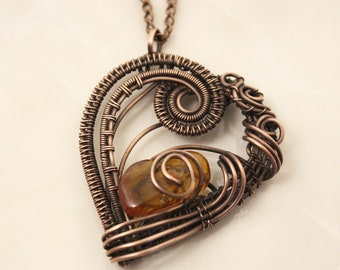 Copper Wire wrap pendant Raw natural amber necklace Wire Art Baltic amber jewelry Boho stone Protection Amulet Mothers day gift for mom
