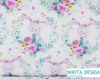 Hilco Jersey Girls locket bunny bunny girl floral watercolor boho watercolor watercolors drawn white colorful