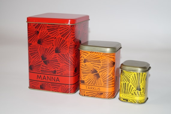 old kitchen organizer for storing products set of 2 old Soviet tin containers with lids metal can for sugar Vintage metal aluminum box
