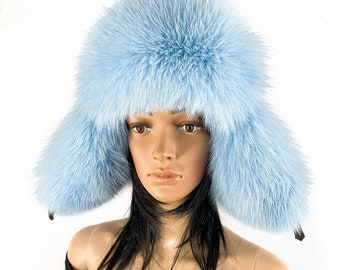 Arctic Fox Fur Hat Saga Furs Ushanka Hat Baby Blue Fur and Black Leather f1849073488