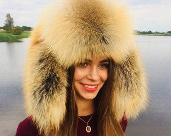 3b71237fdde7a Golden Island Fox Fur Full Ushanka Hat Adjustable Saga Furs Hat Natural  Colors