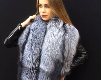 28f1e713a Double-Sided Silver Fox Fur Stole 63' + Detachable Tails. Saga Furs