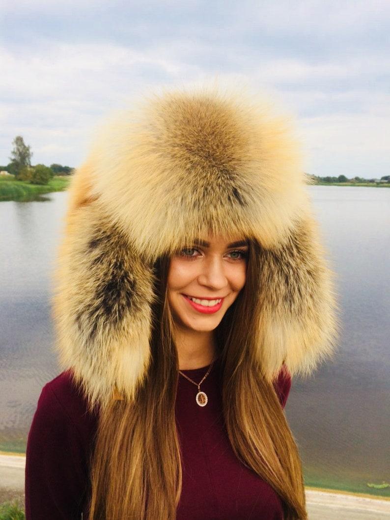 5cb31ed8 Golden Island Fox Fur Full Ushanka Hat Adjustable Saga Furs | Etsy