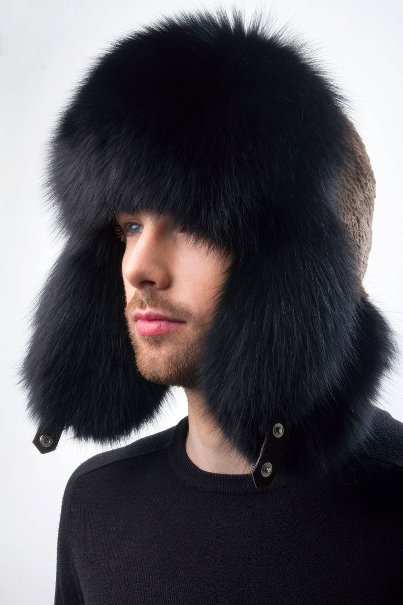 Black Fox and Sheared Beaver Fur Trapper Hat For a Men s  030f542bbf8b