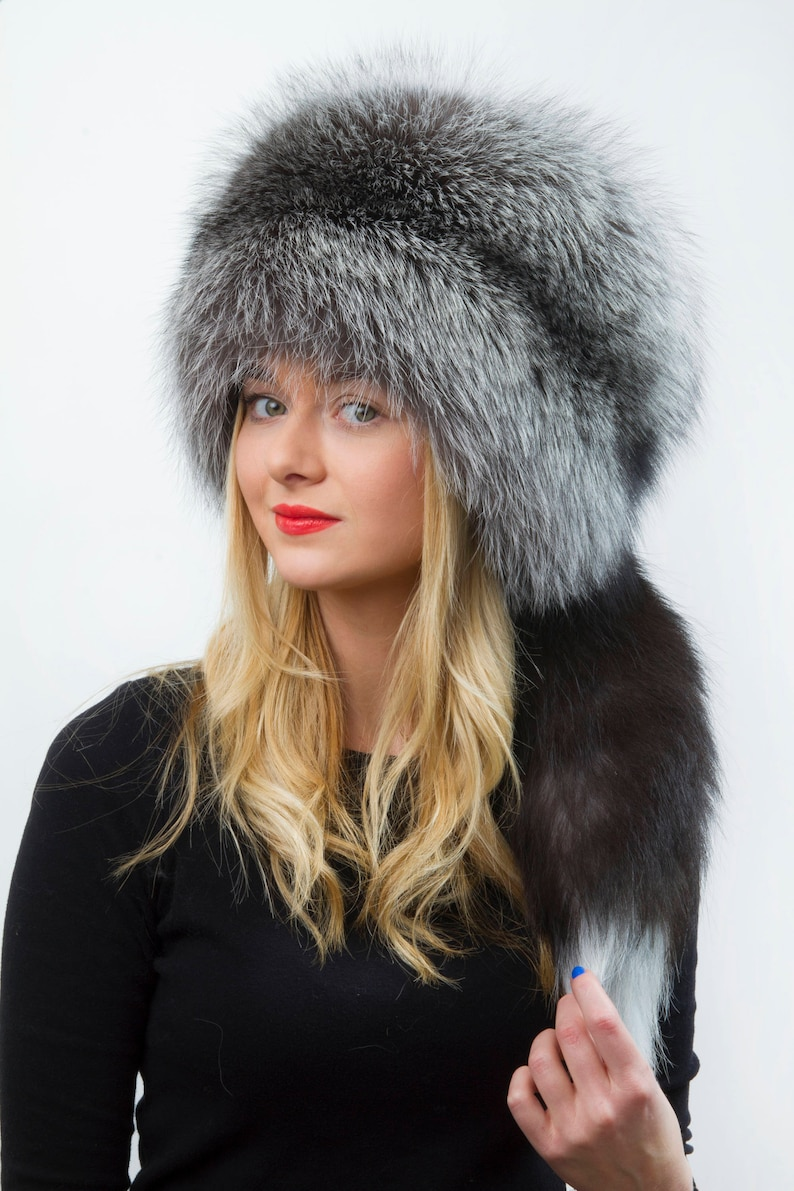 afe940c96b359e Natural Silver Fox Fur Hat Adjustable Hat Removable Tail Saga | Etsy