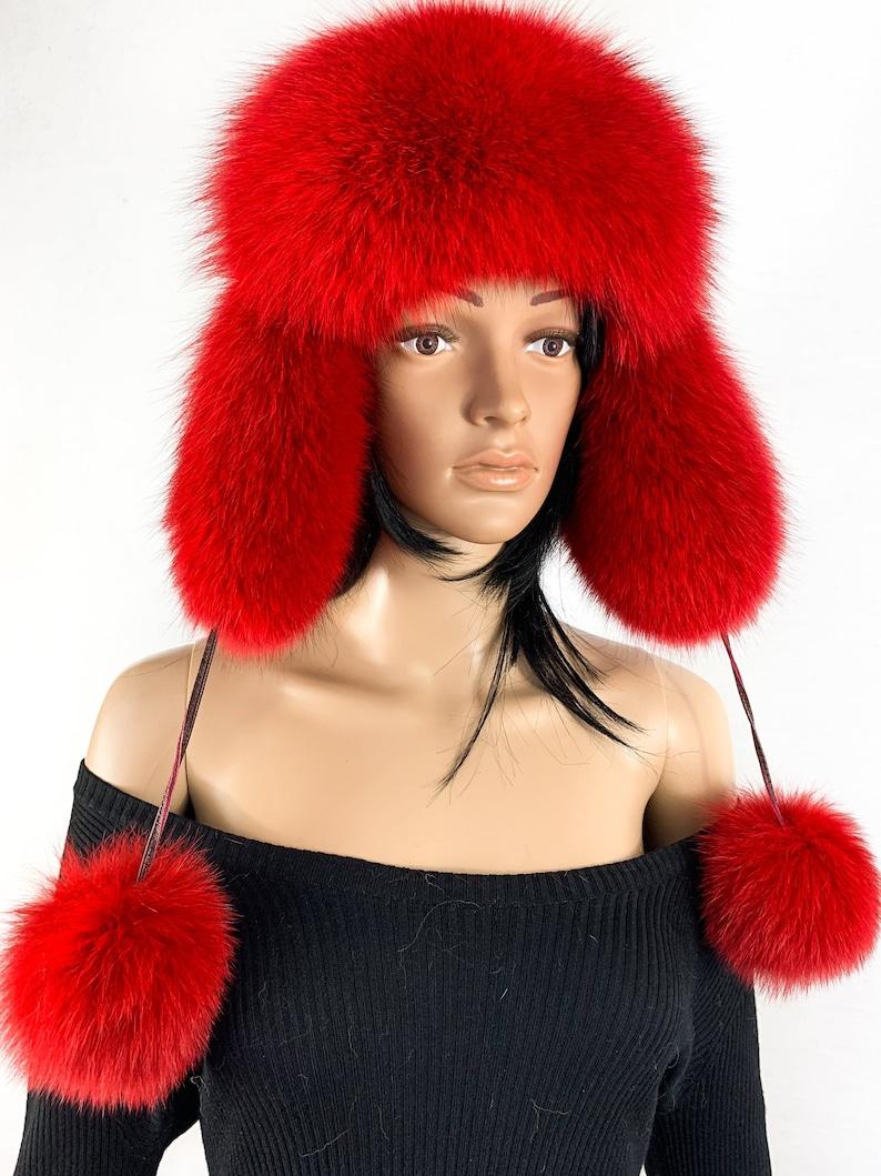 a9d8dd5ea Finland Fox Fur Hat Saga Furs Ushanka Hat Red Fur and Brown Suede