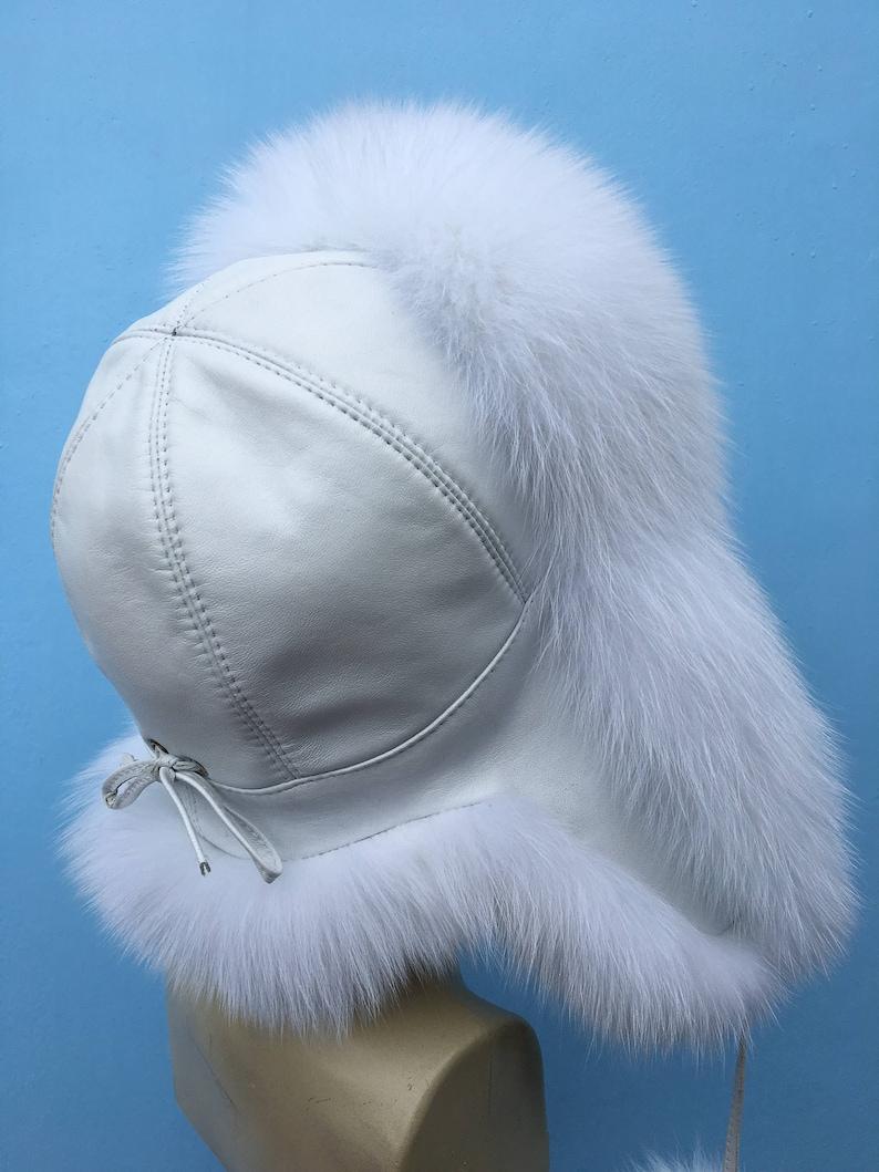08f730963 Arctic Fox Fur Ushanka Hat White Leather Pure White Fox PomPom Saga