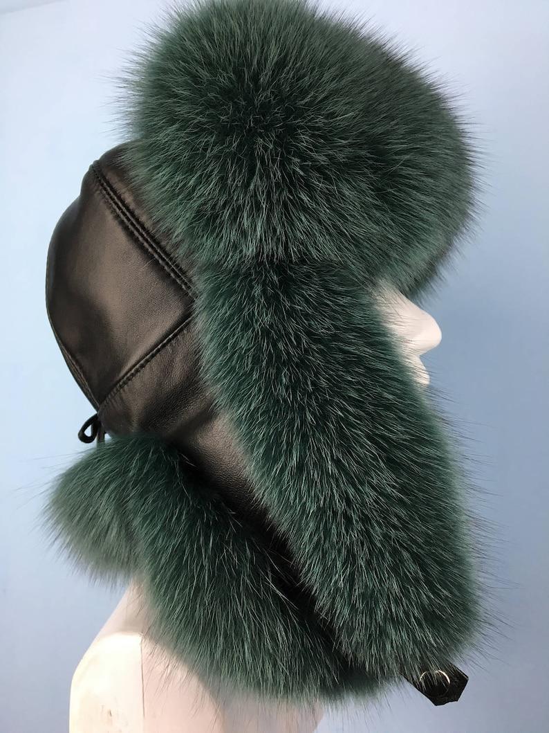 774fc8417 Finn Fox Fur Ushanka Hat with Leather, Saga Furs Green Fox Trapper Aviator  Hat