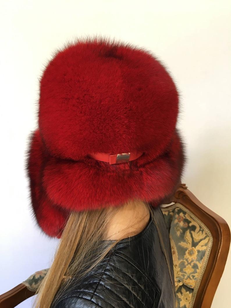 a75b33ed Saga Fox Fur Hat Adjustable Saga Furs Red Full Fur Ushanka Hat | Etsy