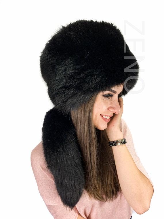 Silver Fox Fur Pillbox Hat Saga Furs Regular Women/'s Size Fur Hat