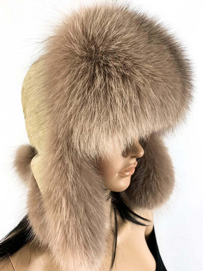 08f2b77737b30 Finland Fox Fur Hat Saga Furs Ushanka Hat Beige Fur and Suede