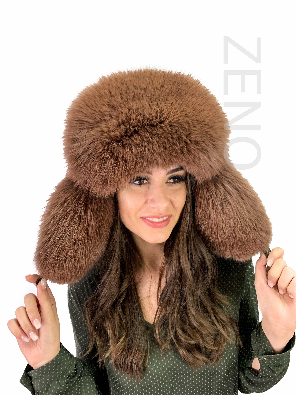 a9e6a4494 Real Fox Fur Hat Saga Furs Ushanka Hat Brown Fur and Suede Trapper Aviator  Hat