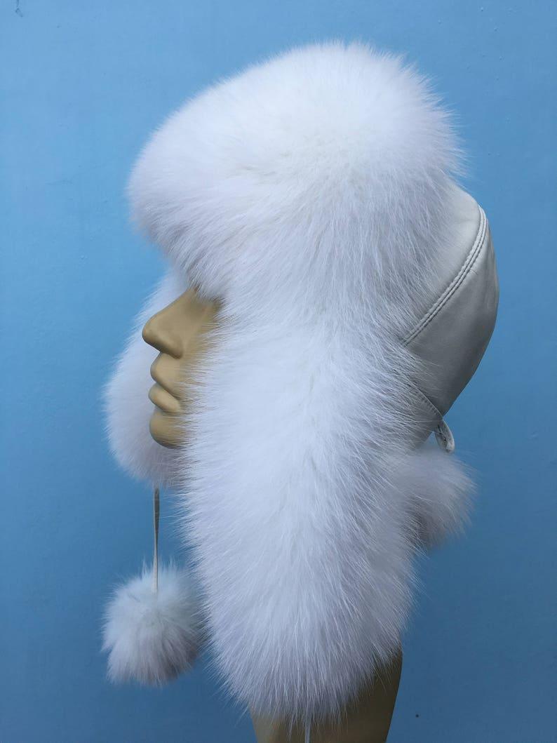Arctic Fox Fur Ushanka Hat White Leather Pure White Fox PomPom Saga