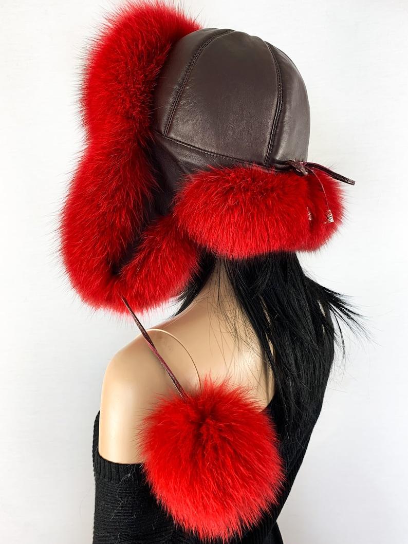 e1a41bb7c8147 Finland Fox Fur Hat Saga Furs Ushanka Hat Red Fur and Brown