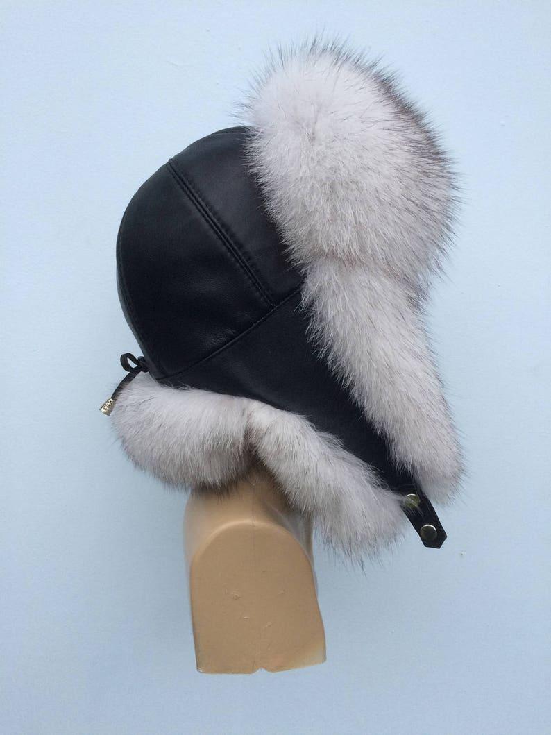 fa81fa473 Blue Fox Fur Ushanka Hat with Leather, Saga Furs Natural White Fox Trapper  Aviator Hat