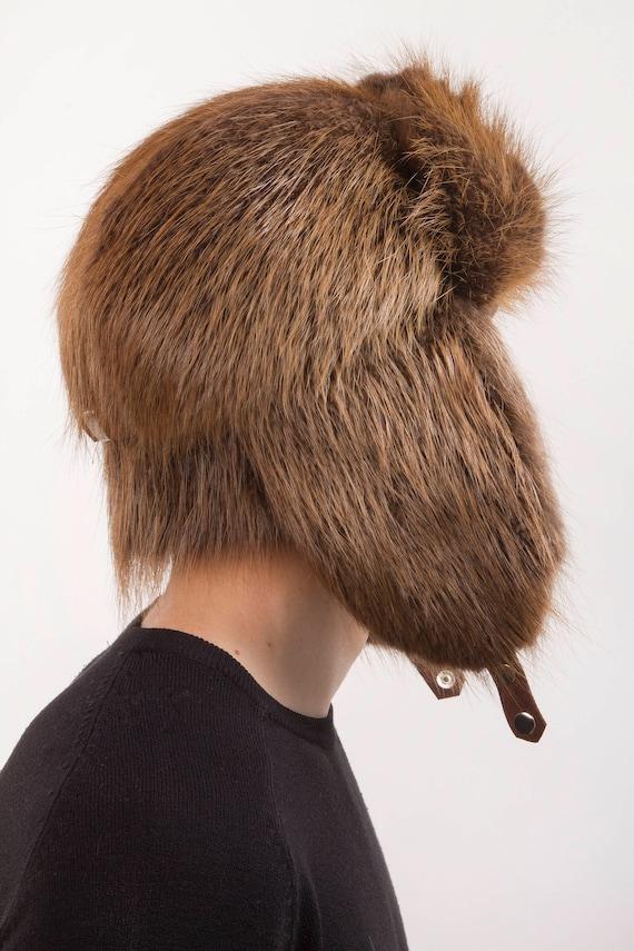 Beaver Fur Full Trapper Hat for a Men s 22-23  Ushanka  e1bfd6b46aae