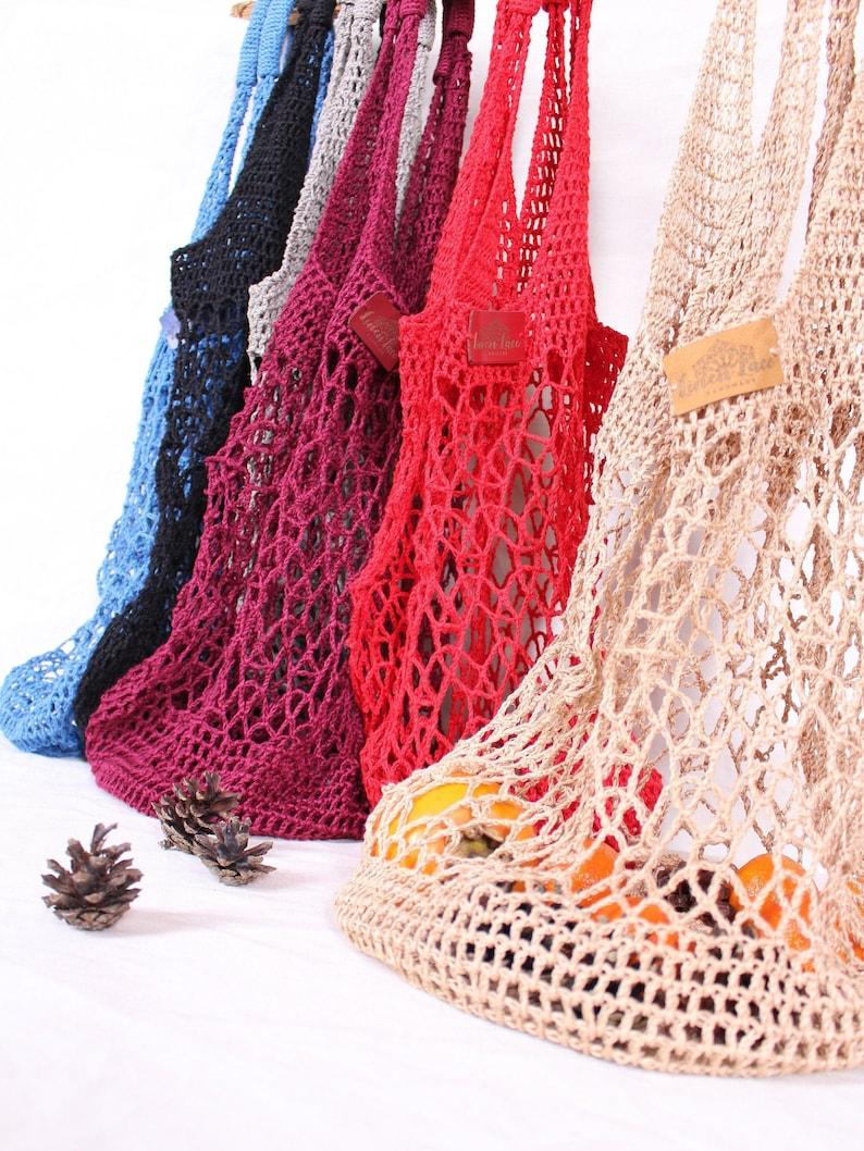 Linen produce bag Blue shopping bag Net bag Zero waste crochet grocery bag Reusable string bags Vintage mesh bag