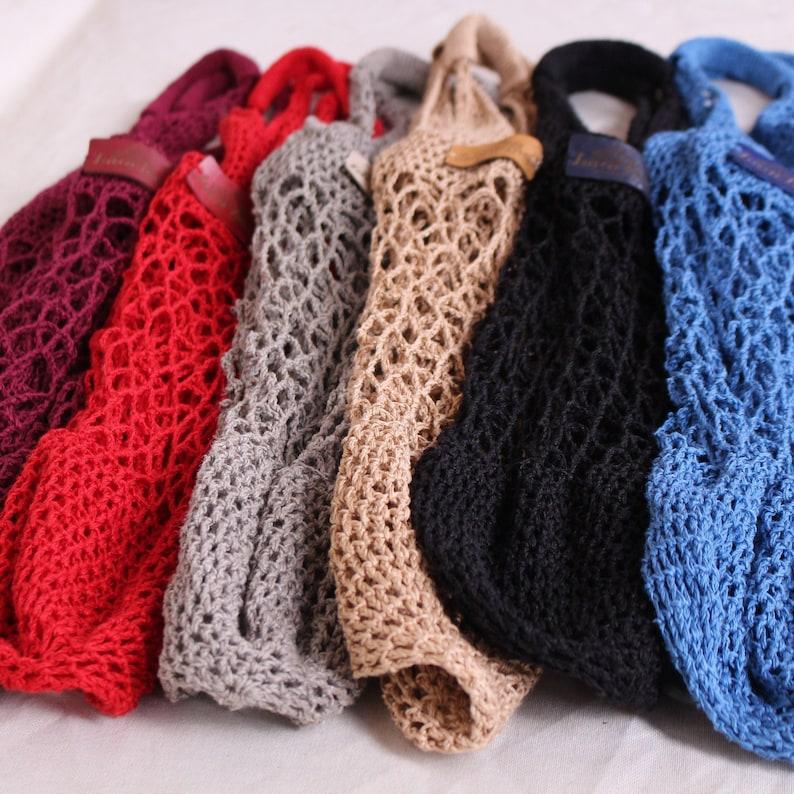 Produce bag Zero waste net bag Colorful grocery bag Crochet fishnet bags Linen shopping bag Crochet mesh bag