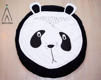 Panda design, round, play mat, nursery décor, crawling mat, baby shower gift, tummy time ,activity mat