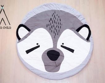 Fox Designs round Cotton Play Mat Nursery Décor Crawling Mat Baby Shower Gift Tummy Time Activity Mat