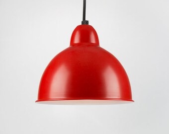 Retro Ceiling Pendant With Shade | Red | Retro | Loft | Industrial | Minimalist | Lamp