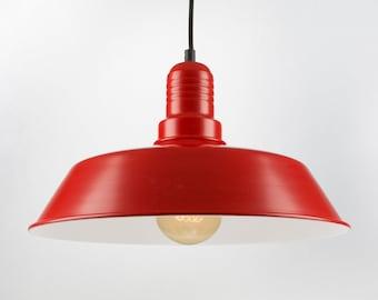Retro Ceiling Pendant With Big Shade | Red | Retro | Loft | Industrial | Minimalist | Lamp
