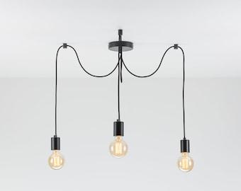Elvin 3-Port Ceiling Pendant Lamp | Black | Swag Hook | Spider Chandelier | You Choose We Build | Textile Cable | Color Cord