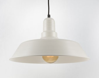 Retro Ceiling Pendant With Big Shade | White | Retro | Loft | Industrial | Minimalist | Lamp